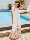 White Floral Straight Vacation Women's Maxi Dress - LUNAP Co