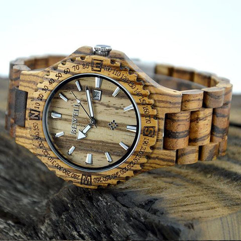 Men's Natural Wooden Wristwatch Wood Watch Quartz with Date + Box