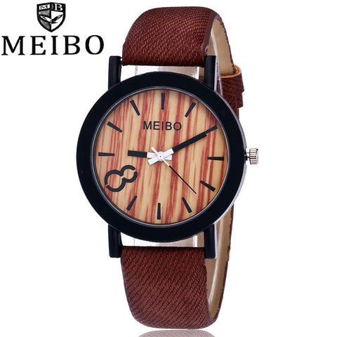 Modeling Wooden Quartz Mens Watch Casual Wooden Color Leather Watch - LUNAP Co