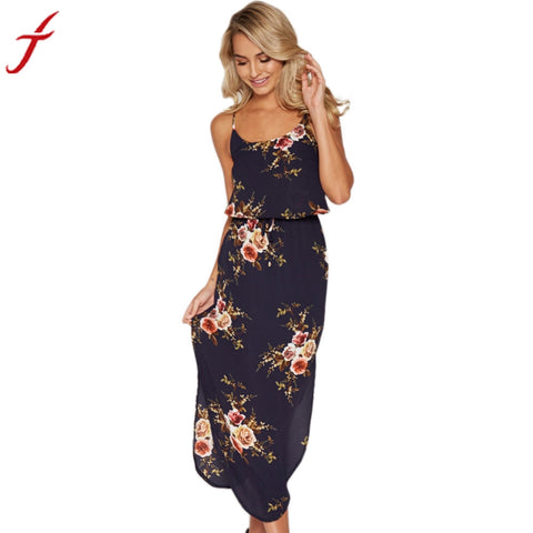 Summer Bohemian Dress Fashion Side Split Slim Floral Print Sleeveless Straight Beach Mid-Calf Dress - LUNAP Co