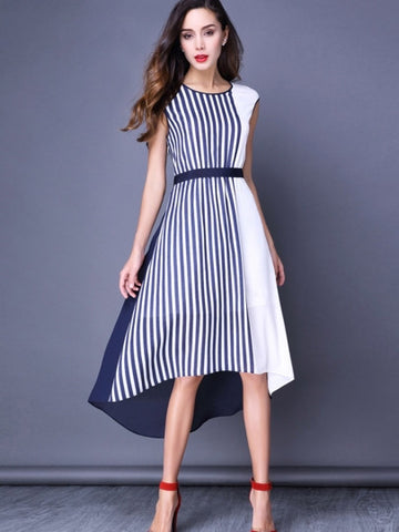 Women's Stripe Color Block Asymmetrical Maxi Dress - LUNAP Co