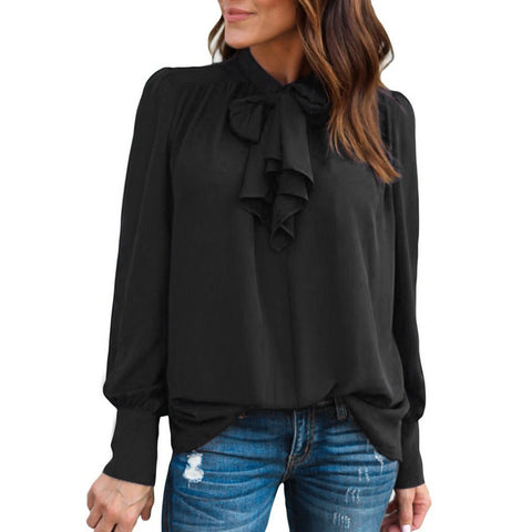 Women Casual Chiffon Long Sleeve Solid Bow Blouse - LUNAP Co