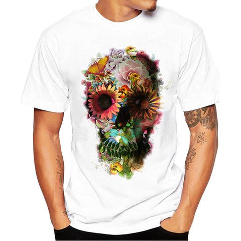 Men's Boy's Skull Floral Print Short Sleeve T Shirt - LUNAP Co