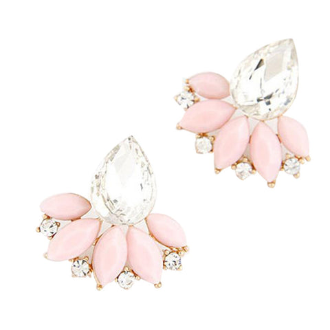 Ladies Fashion OL Temperament Shining Gem Leaves Earrings - LUNAP Co