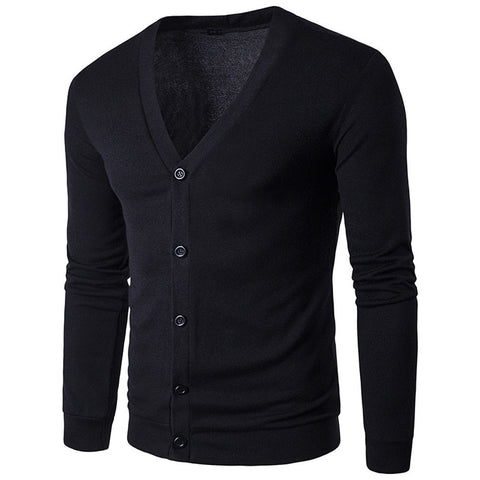 Men's Autumn Winter Button V Neck Long Sleeve Knit Sweater Cardigan Coat - LUNAP Co