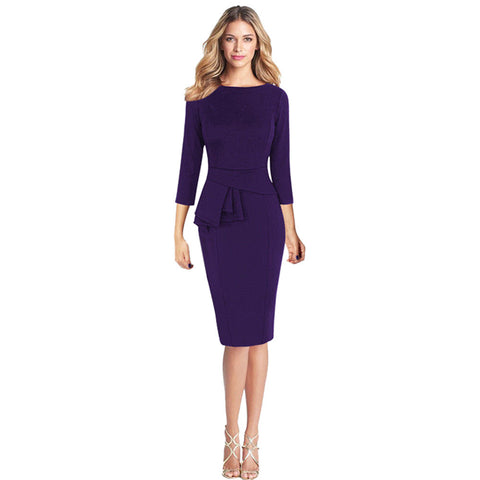 Women Elegant Frill Peplum 3/4 Gown Sleeve Work Business Party Sheath Dress - LUNAP Co