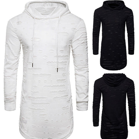 Men's Hole Long Sleeve T Shirt Casual Hoodie - LUNAP Co