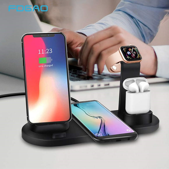10W 4 In 1 Qi Wireless Charging Station Dock for Apple Watch 4 3 2 AirPods Charger For iPhone XS XR X 8 7 6S 6 Samsung S10 S9 S8