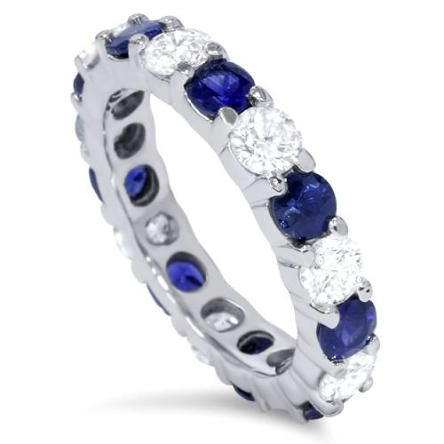 3ct Blue Sapphire & Diamond Eternity Wedding Ring 14K White Gold Stackable Band