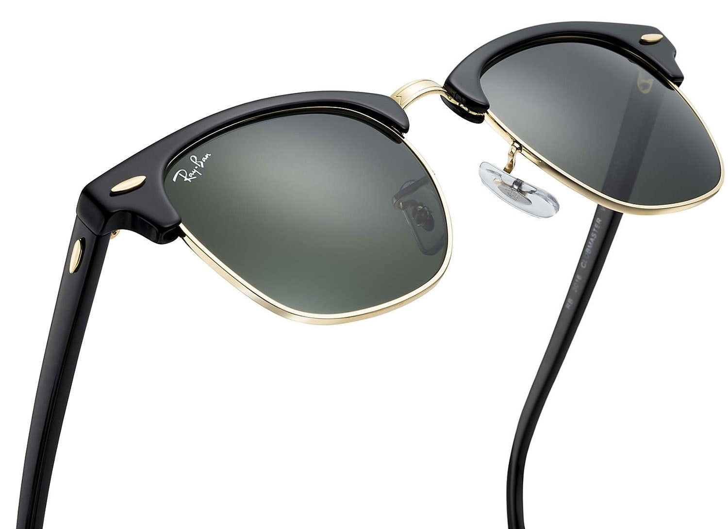 8451537dd ... Ray-Ban Clubmaster Classic Sunglasses (Black and Arista Gold/Green  Classic G- ...