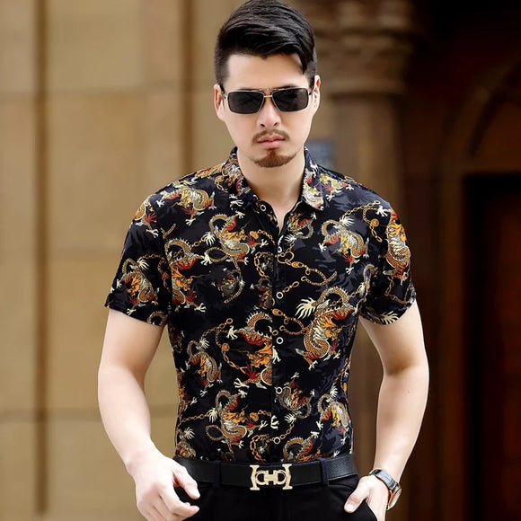 Hot sale summer & spring male hollow velvet clothes sexy man short sleeve see through floral dress shirts