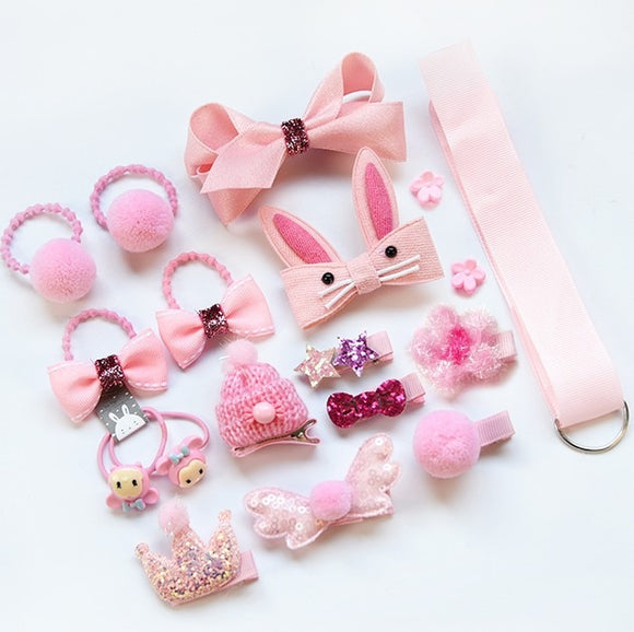18pcs children cartoon hair clip girl gift headwear boxed hairpin hair rope accessories hair ring circle kid lovely rubber band