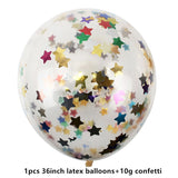 1PCS 36inch Large Confetti Balloon Wedding Decoration Inflatable Clear Latex Balloons Birthday Party Decoration Party Decor