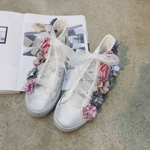 2017 New Flowers Cut Out Dirty Casual Shoes For Women Canvas Shoes High Top Beathable Summer Shoes Girls Female Flat Shoes