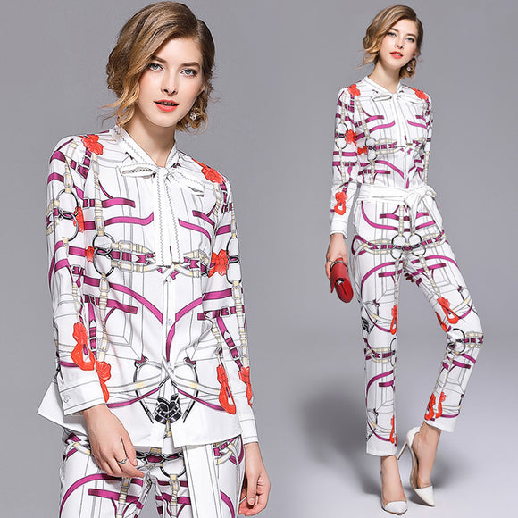 2018 Fall Winter Clothing Women Luxury Brand Scarf Collar Design Fashion Pattern Printed Shirts And Pencil Pants Two-piece Sets