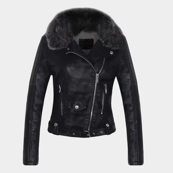 2018 Hot Women Winter Warm Faux Leather Jackets with Fur Collar Lady White Black Pink Motorcycle & Biker Outerwear Coats