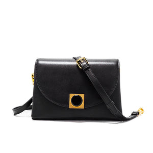 2018 New Brand Female Baotou Layer Cowhide Bag Cover Color Shoulder Bag Diagonal Female Bag Korean Version Simple And Versatile