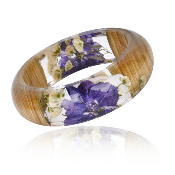 2018 New Handmade Resin Bangle Bracelet with Real Wood Purple Dried Flower Bohemia Style Bangle Christmas Gift