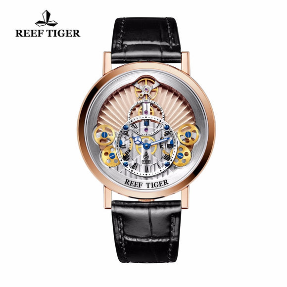 2018 New Reef Tiger Brand Watches Mens Designer Casual Skeleton Rose Gold Fashion Waterproof Quartz Watch Relogio Masculino