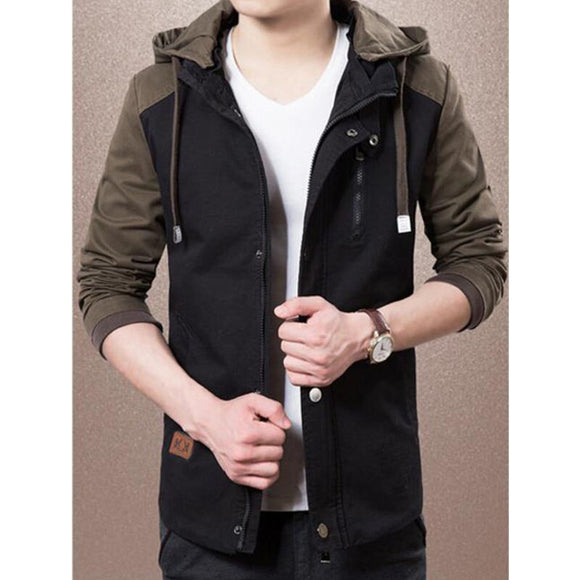 2018 New fashion jacket men Spring autumn hooded patchwork color parka men young casual slim solid jacket popular jackets men