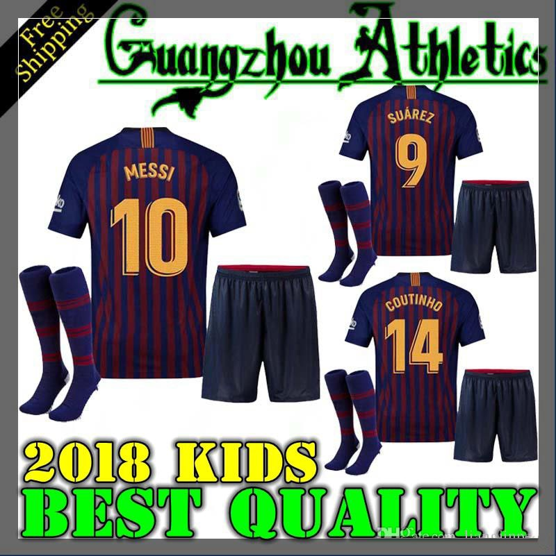 brand new 9ddb1 81d47 2018 boy child kids kit Barcelona shirts 2019 Barcelonaes kids kit football  shirt soccer jersey COUTINHO A. INIESTA SUAREZ MESSI