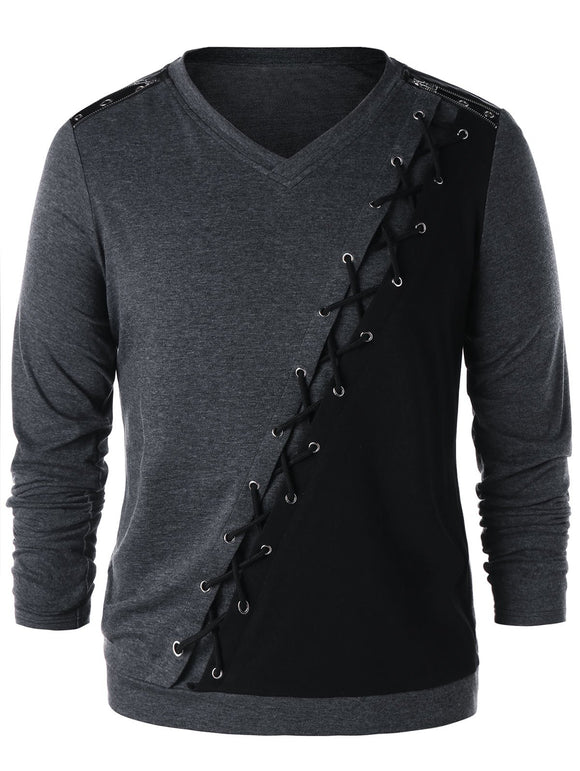Long Sleeve Criss Cross Zipper Shoulder T-shirt - Gray - XL