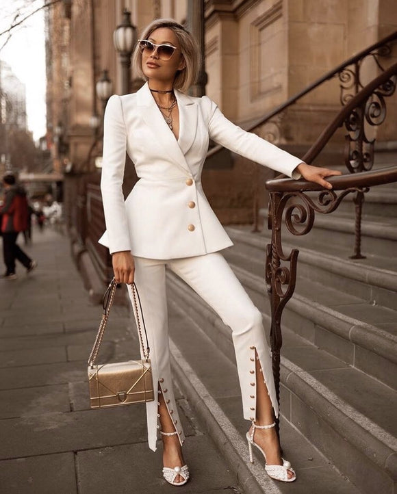 2019 newest white jacket with buttons and pants  two piece sets fashion women up spring festival summer autumn wholesale