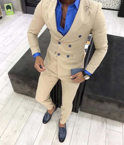 2019 Champagne Mens Double Breasted Business Suits Men Custom Wedding Gentleman Suits Male Grooming 2 Pieces Suits Jacket Pants
