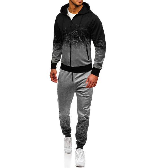 2019 Fashion Tracksuit Sport Men Sweatshirt Mens Autumn Winter Packwork Print Top Pants Sets Sport Suit Tracksuit Running Sets