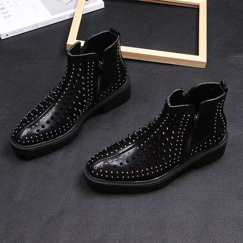 2019 Men British Casual High Leather Rivet Short Boots Korean Trend Martin High heels Thick Man Black Stage Party Boots