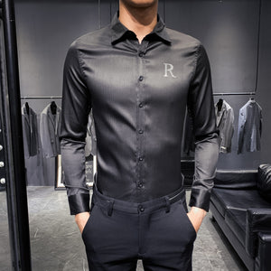 2019 Men Shirt Designer Rhinestone Wing Long Sleeve Casual Slim Fit Dress Shirts Black White Streetwear Camisa Social Masculina
