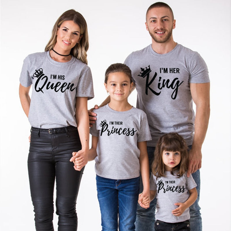 70146c7d31f68 2019 Mother Daughter Family Matching Outfits Matching Father Mother  Daughter Son Clothes Cotton T-shirt King Queen Family Look