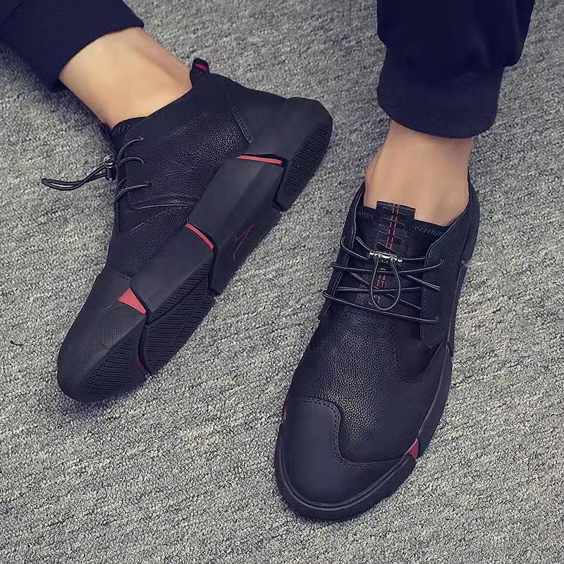 2019 NEW Men's Shoes Sneakers Men High Quality Men Casual Shoes Fashion PU Leather Breathable Lace Up Flats Male Shoes Adult