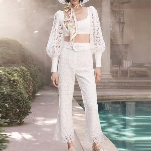 2019 New Arrival Women 2 Piece Sets Long Sleeve Crop Top and High Waist Long Pants Hollow Out Two Piece Set Top and Pants