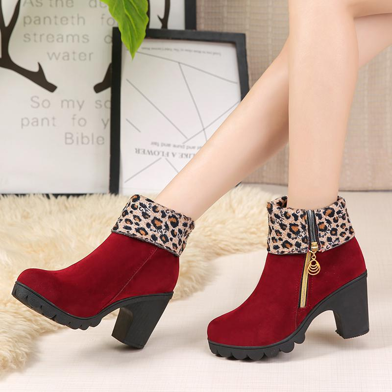 f0b2fce4d37 ... 2019 New Autumn Winter Women Boots High Quality Solid Lace-up European Ladies  shoes Leather ...