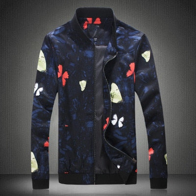2019 New Fashion Bomber Jackets for Men Flower Print Spring Autumn Slim Fit Overcoat Homme Casual Windbreaker Masculino Coats