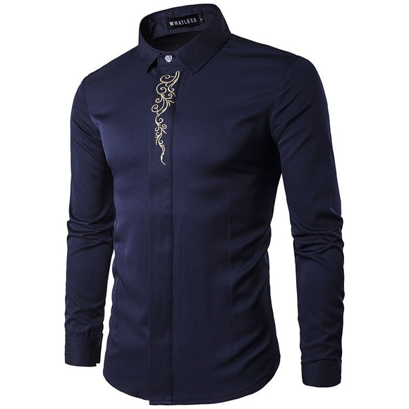2019 New High-end Trend Printing Shirt Male Dress Shirt Casual Business Long Sleeve Shirt Men's Fashion Luxury Brand Shirt