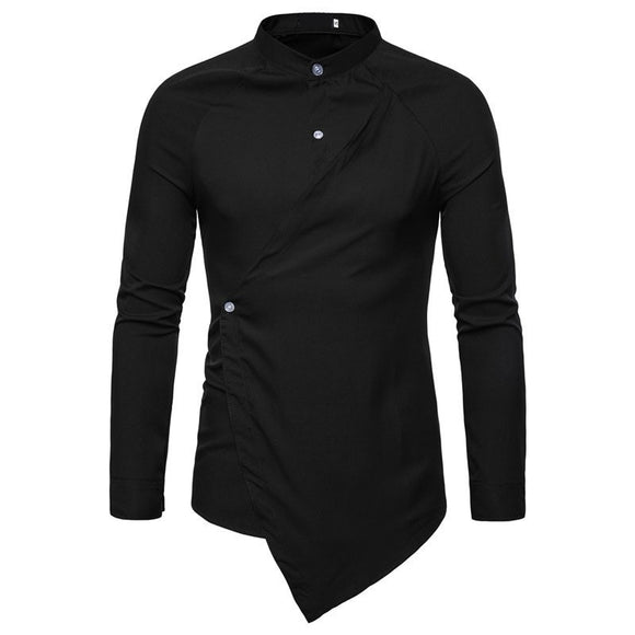 2019 New Men's High Street Solid Color shirt Irregular Long Sleeve Slim Fit Shirts Male Business Casual Shirt Tops S-2XL