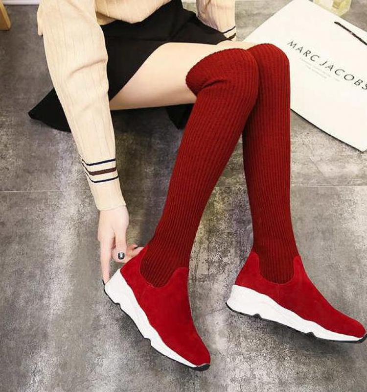 fbccf295a ... 2019 New Winter Fashion Women Over The Knee Boots Casual Sexy High  Heels Shoes Winter Warm ...