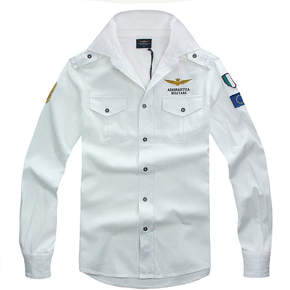 2019 New spring Autumn Aeronautica Militare Brand high quality Slim fit Men Cotton Fashion Business Casual Long Sleeve Shirt