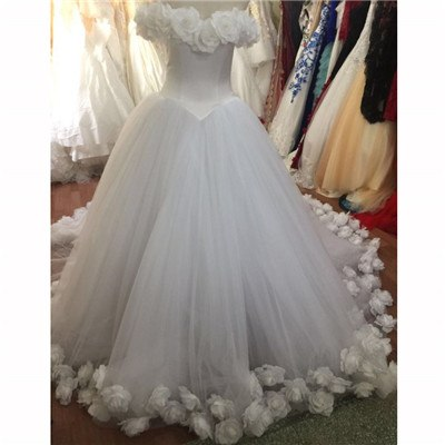 2019 Pink Cloud Flower Rose Wedding Dresses Long Tulle Puffy Ruffle Robe De Mariage  Bridal Gown Said Mhamad Wedding Gown HA2003