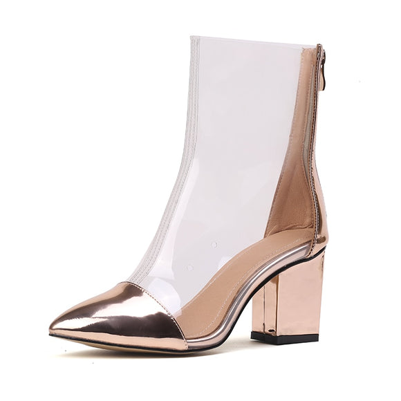 2019 Spring Transparent Rain Boots Top Quality Square High Heels Waterproof Ankle Boots For Women Sexy Gold Silver Ladies Shoes