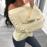 2019 Spring Women Sweaters Pull Femme Hiver Pullover Long Sleeve Coat Women Loose Off Shoulder Solid Knitted Jumper Sweater