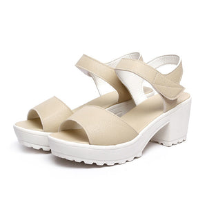 9530c04550a 2019 Summer Wedges Platform Women Sandals Square Thick High Heel PU leather  Shoes Soft Black White