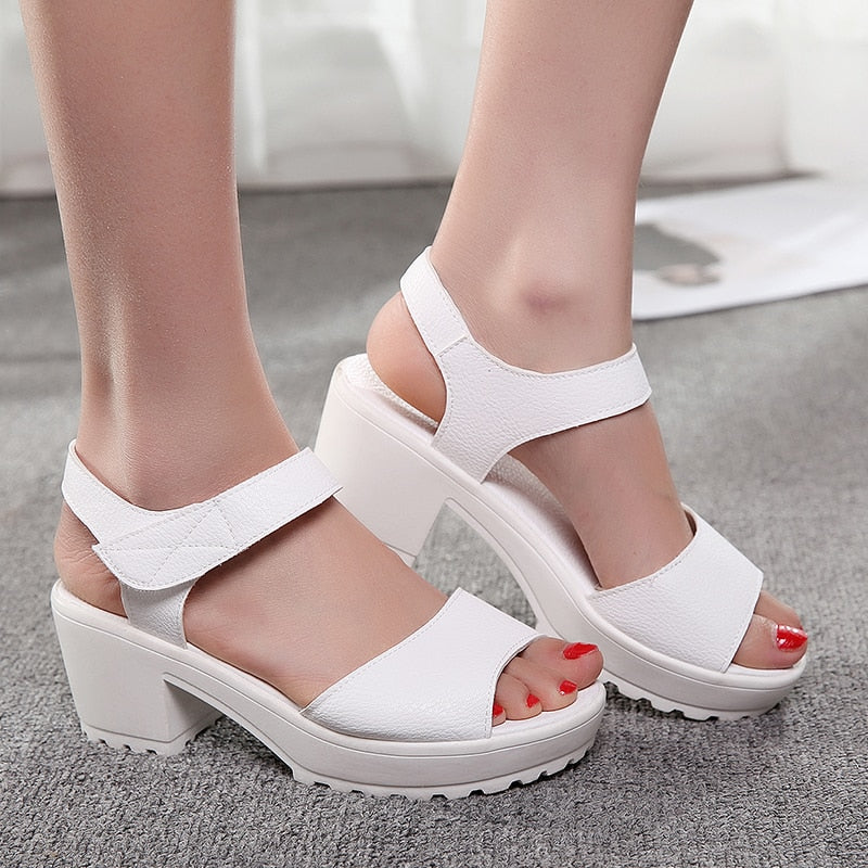 62890f0b3fc ... 2019 Summer Wedges Platform Women Sandals Square Thick High Heel PU  leather Shoes Soft Black White ...
