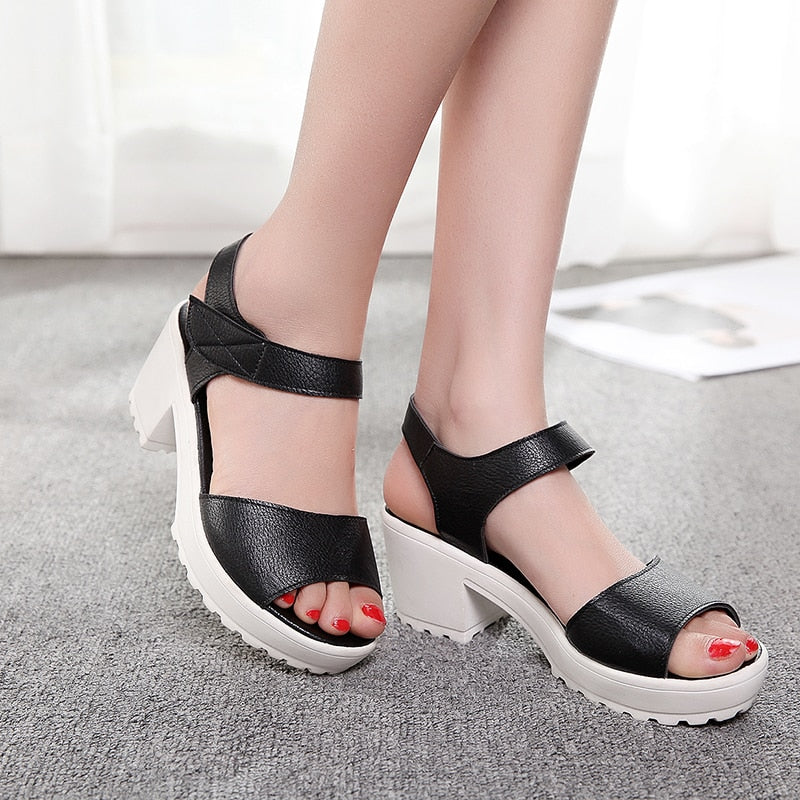 b38eecc6097 ... 2019 Summer Wedges Platform Women Sandals Square Thick High Heel PU  leather Shoes Soft Black White