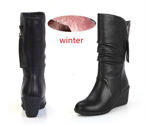 2019 Women  Boots Female Knee High Woman Hot Fashion Shoes Black Leather Botas De Mujer Winter Rainboots Plush Size 35-42 J66