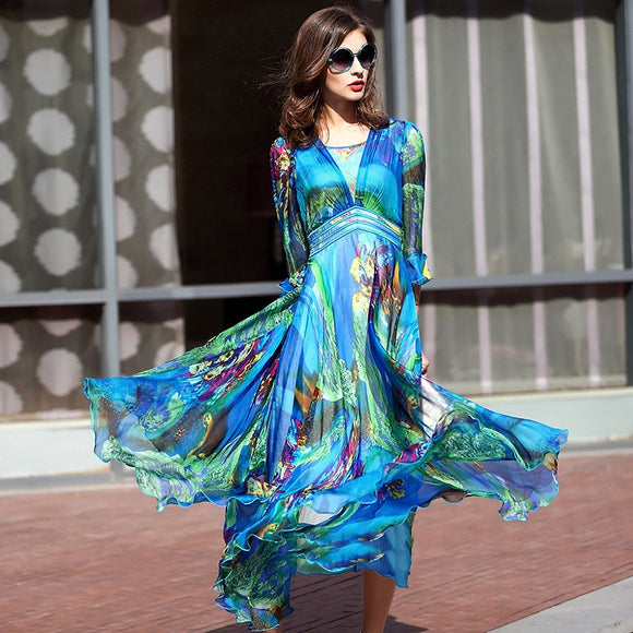 2019 Women Dresses Long Pleated Dress Plus size Print Vintage Elegant High-grade 100% Real silk For Female Summer
