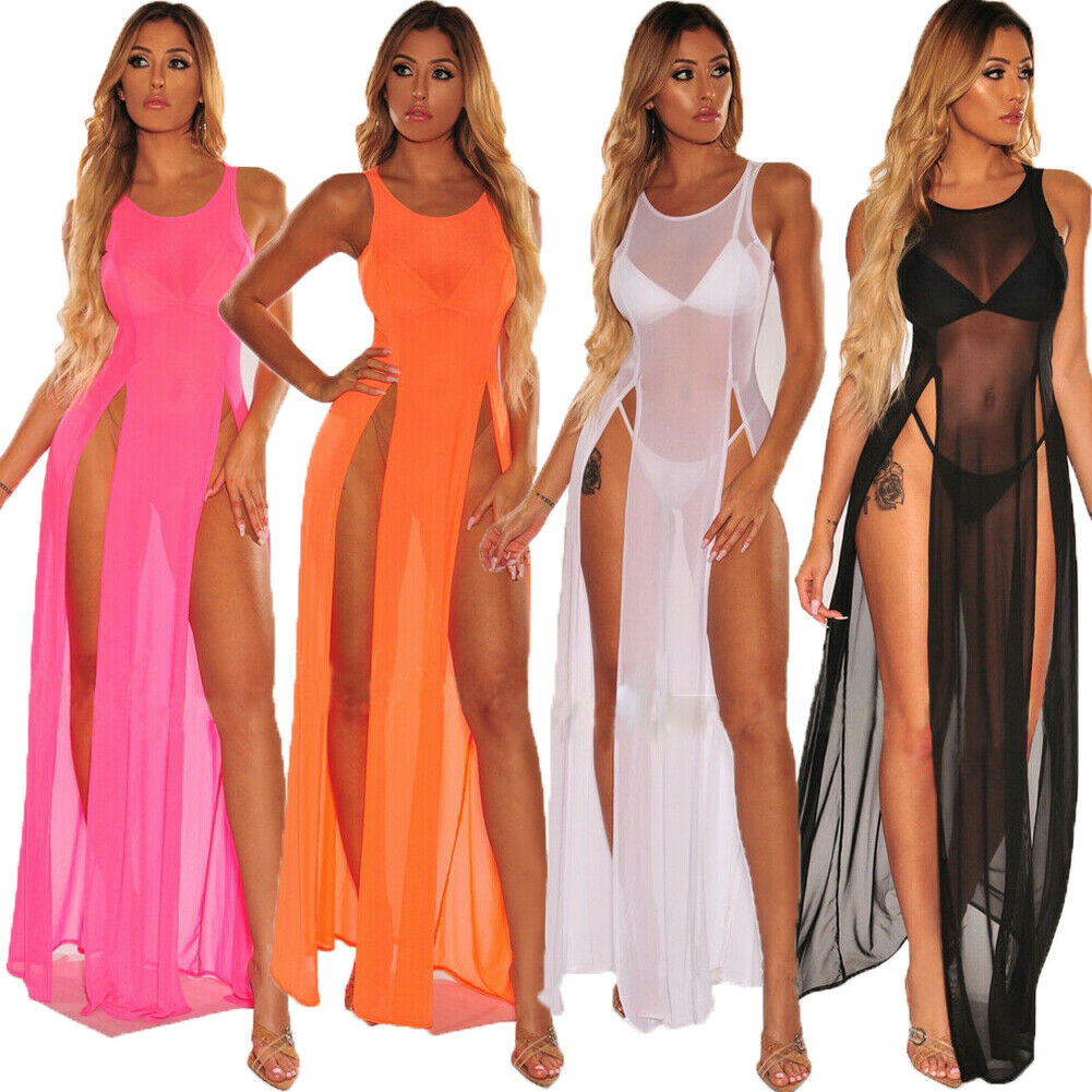 f4972311da ... 2019 Women's Bikini Swimsuit Cover up Silk Summer Beach Wear Mesh Sheer  Long Dress Summer Bathing