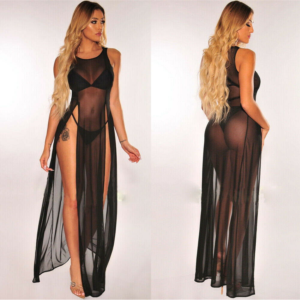 a62cebd9e7 ... 2019 Women's Bikini Swimsuit Cover up Silk Summer Beach Wear Mesh Sheer  Long Dress Summer Bathing ...